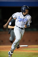 Pensacola Blue Wahoos left fielder Gabriel Guerrero (23) runs to first base during a game against the Mobile BayBears on April 25, 2017 at Hank Aaron Stadium in Mobile, Alabama.  Mobile defeated Pensacola 3-0.  (Mike Janes/Four Seam Images)