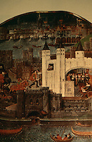 London:  Historical  picture from a manuscript book of poems  by Duke of Orleans who was held in Tower of London. Perhaps earliest detailed view of City.  Menen's LONDON.  The skyline about 1500.  Reference only.