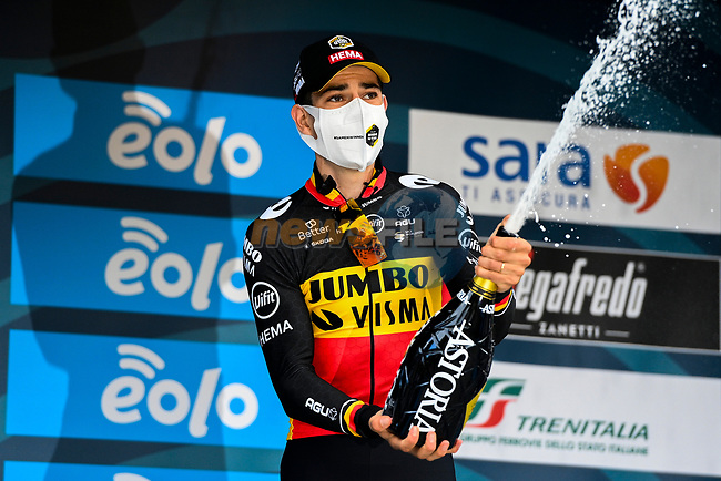 Belgian Champion Wout Van Aert (BEL) Team Jumbo-Visma wins Stage 7 of Tirreno-Adriatico Eolo 2021, an individual time trial running 10.1km around San Benedetto del Tronto, Italy. 16th March 2021. <br /> Photo: LaPresse/Marco Alpozzi | Cyclefile<br /> <br /> All photos usage must carry mandatory copyright credit (© Cyclefile | LaPresse/Marco Alpozzi)