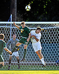 22 September 2008: University of Vermont Catamounts' backfielder Connor Tobin (15), a Senior from Fort Collins, CO, battles Colgate University Raiders' forward Jameson Fauver, a Junior from Harwinton, CT, at Centennial Field, in Burlington, Vermont. The Raiders edged out the Catamounts 2-1, handing the Soccer Catamounts their first home loss of the 2008 season. ..Mandatory Photo Credit: Ed Wolfstein Photo