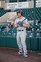 Fort Myers Miracle designated hitter Taylor Grzelakowski (22) on deck during a game against the Lakeland Flying Tigers on August 7, 2018 at Publix Field at Joker Marchant Stadium in Lakeland, Florida.  Fort Myers defeated Lakeland 5-0.  (Mike Janes/Four Seam Images)