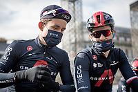 Polish teammates Michal Kwiatkowski (POL/INEOS Grenadiers) & Michał Gołaś (POL/INEOS Grenadiers) at the race start in LIège<br /> <br /> 107th Liège-Bastogne-Liège 2021 (1.UWT)<br /> 1 day race from Liège to Liège (259km)<br /> <br /> ©kramon