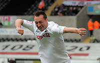 Pictured: Stephen Dobbie of Swansea celebrating his opening goal. Saturday 07 May 2011<br /> Re: Swansea City FC v Sheffield United, npower Championship at the Liberty Stadium, Swansea, south Wales.