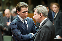 Austrian Foreign Minister Sebastian Kurz and Johannes Hahn , EU commissioner for Neighbourhood policy and enlargement (R)  prior to the European Union Foreign Ministers Council at EU headquarters  in Brussels, Belgium on 29.01.2015 Federica Mogherini , EU High representative for foreign policy called extraordinary meeting on the situation in Ukraine after the attack on Marioupol.  by Wiktor Dabkowski