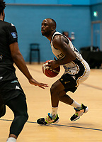 Rahmon Fletcher of Newcastle Eagles during the BBL Championship match between Surrey Scorchers and Newcastle Eagles at Surrey Sports Park, Guildford, England on 20 March 2021. Photo by Liam McAvoy.