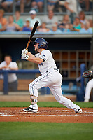 Charlotte Stone Crabs Zacrey Law (6) at bat during a Florida State League game against the Fort Myers Miracle on April 6, 2019 at Charlotte Sports Park in Port Charlotte, Florida.  Fort Myers defeated Charlotte 7-4.  (Mike Janes/Four Seam Images)