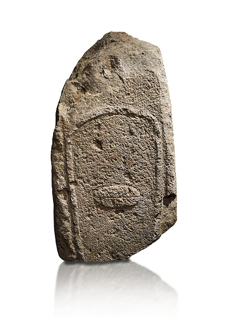 Late European Neolithic prehistoric Menhir standing stone with carvings on its face side. Excavated from Amassed VII, Allai.  Menhir Museum, Museo della Statuaria Prehistorica in Sardegna, Museum of Prehoistoric Sardinian Statues, Palazzo Aymerich, Laconi, Sardinia, Italy. White background.