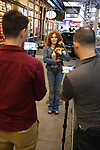 Bernadette Peters, with dogs from The Humane Society of New York, filming a promo for the Broadway Barks 2019 Announcement at Shubert Alley on June 20, 2019 in New York City.