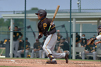 Pittsburgh Pirates Deon Stafford (15) bats during a Minor League Spring Training game against the Baltimore Orioles on April 21, 2021 at Pirate City in Bradenton, Florida.  (Mike Janes/Four Seam Images)