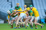 Jason Diggins, Kerry in action against Joe Maskey, Antrim during the Joe McDonagh Cup Final match between Kerry and Antrim at Croke Park in Dublin.