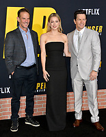 "LOS ANGELES, CA: 27, 2020: Peter Berg, Iliza Shlesinger & Mark Wahlberg  at the world premiere of ""Spenser Confidential"" at the Regency Village Theatre.<br /> Picture: Paul Smith/Featureflash"