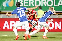 Spain's Nolito (c) and Liechtenstein's Michele Polverino (l) and Martin Rechsteiner during FIFA World Cup 2018 Qualifying Round match. September 5,2016.(ALTERPHOTOS/Acero) /NORTEPHOTO