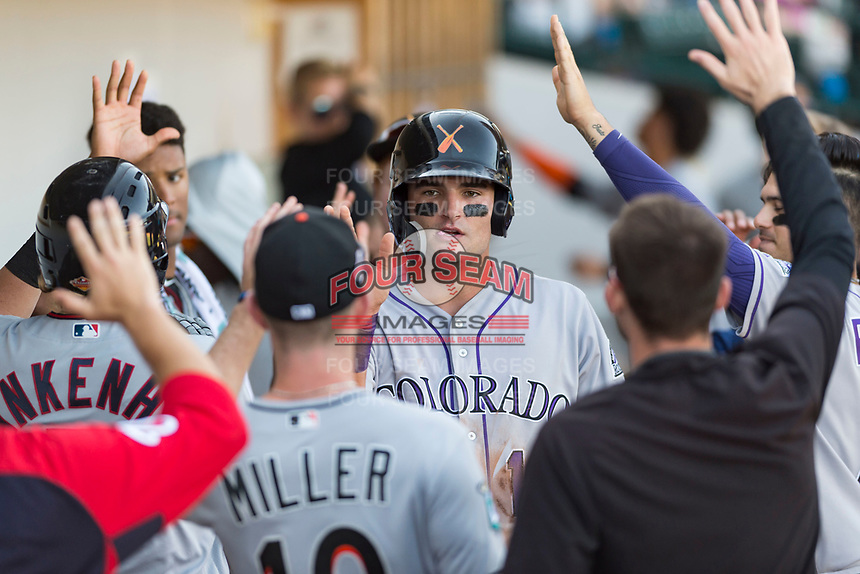 Salt River Rafters left fielder Sam Hilliard (14), of the Colorado Rockies organization, is congratulated by his teammates in the dugout after scoring a run during an Arizona Fall League game against the Mesa Solar Sox at Sloan Park on October 30, 2018 in Mesa, Arizona. Salt River defeated Mesa 14-4 . (Zachary Lucy/Four Seam Images)