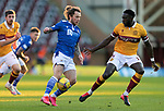 Motherwell v St Johnstone…28.11.20   Fir Park      BetFred Cup<br />Stevie May takes on Bevis Mugabe<br />Picture by Graeme Hart.<br />Copyright Perthshire Picture Agency<br />Tel: 01738 623350  Mobile: 07990 594431