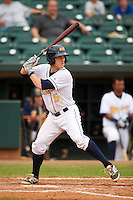 Montgomery Biscuits catcher Justin O'Conner (5) at bat during a game against the Tennessee Smokies on May 25, 2015 at Riverwalk Stadium in Montgomery, Alabama.  Tennessee defeated Montgomery 6-3 as the game was called after eight innings due to rain.  (Mike Janes/Four Seam Images)