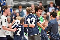 Tauranga Boys College celebrates after winning the NZ Secondary Schools Senior Boys Final between Wellington College and Tauranga Boys' College at ASB Sports Centre, Wellington on 26 March 2021.<br /> Copyright photo: Masanori Udagawa /  www.photosport.nz