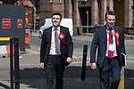 © Joel Goodman - 07973 332324 . 05/05/2017 . Manchester , UK . ANDY BURNHAM arrives with campaign manager KEVIN LEE . The count for council and Metro Mayor elections in Greater Manchester at the Manchester Central Convention Centre . Photo credit : Joel Goodman