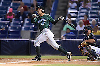 Daytona Tortugas first baseman Sammy Diaz (10) hits a three run home run during a game against the Tampa Yankees on April 24, 2015 at George M. Steinbrenner Field in Tampa, Florida.  Tampa defeated Daytona 12-7.  (Mike Janes/Four Seam Images)