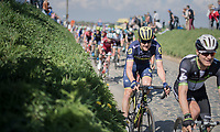 Luke Durbridge (AUS/Orica-Scott) over the cobbles of the Holleweg<br /> <br /> <br /> 101th Ronde Van Vlaanderen 2017 (1.UWT)<br /> 1day race: Antwerp › Oudenaarde - BEL (260km)