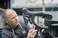 """mechanic at work<br /> <br /> Team Orica-Scott 1 day from the start of the 104th Tour de France 2017 at """"Le Grand Départ"""" in Düsseldorf/Germany"""