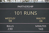 The scoreboard shows that Tom Westley and Paul Walter of Essex have reached a 100 run partnership during Essex CCC vs Worcestershire CCC, LV Insurance County Championship Group 1 Cricket at The Cloudfm County Ground on 9th April 2021