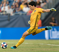 FOXBOROUGH, MA - JULY 27: Brian Rowe #23 goal kick during a game between Orlando City SC and New England Revolution at Gillette Stadium on July 27, 2019 in Foxborough, Massachusetts.