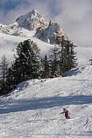 Europe/Italie/Vénétie/Dolomites/Cortina d'Ampezzo: Ski alpin sur les pentes du Mont Faloria