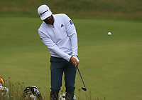 13th July 2021; The Royal St. George's Golf Club, Sandwich, Kent, England; The 149th Open Golf Championship, practice day; Dustin Johnson (USA) plays a recovery shot at the 3rd hole