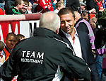 Aberdeen v St Johnstone... 23.07.11   SPL Week 1.Derek McInnes shakes hands with Craig Brown.Picture by Graeme Hart..Copyright Perthshire Picture Agency.Tel: 01738 623350  Mobile: 07990 594431