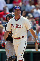 Philadelphia Phillies pinch hitter Jim Thome #25 during the Major League Baseball game against the Pittsburgh Pirates on June 28, 2012 at Citizens Bank Park in Philadelphia, Pennsylvania. This would be Thome's final appearance for the Phillies before he was traded a few days later. The Pirates defeated the Phillies 5-4. (Andrew Woolley/Four Seam Images)