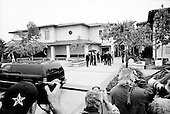 Santa Maria, California.USA.April 2005..Pop singer Michael Jackson arrives at the Santa Maria courthouse where he is being tried for child abuse. He waves to supporters fenced in near by...Mr. Jackson, 46, denies all 10 charges against him, including child abuse. He faces up to 20 years in jail if convicted on all charges.