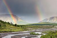 Double rainbow over the Alaska Range and the savage river drainage, Denali National Park, Interior, Alaska.