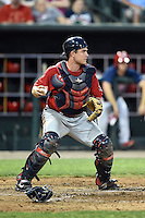 Oklahoma City RedHawks catcher Max Stassi (10) checks the runner during a game against the Memphis Redbirds on May 23, 2014 at AutoZone Park in Memphis, Tennessee.  Oklahoma City defeated Memphis 12-10.  (Mike Janes/Four Seam Images)