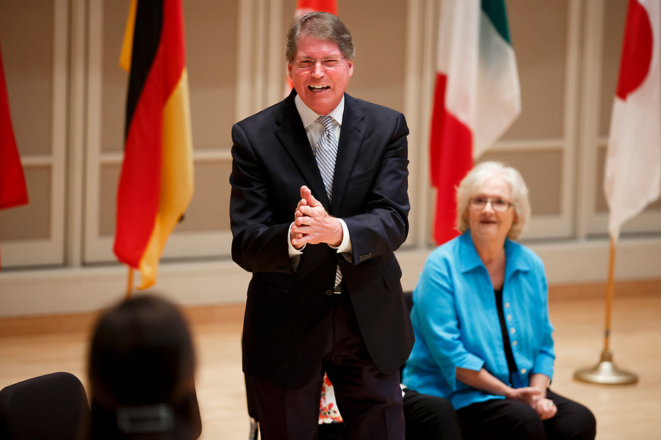 Indiana University Jacobs School of Music Dean Gwyn Richards reacts to recognition during the opening ceremony of the 11th USA International Harp Competition at Indiana University in Bloomington, Indiana on Wednesday, July 3, 2019. (Photo by James Brosher)