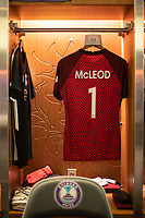 ORLANDO, FL - SEPTEMBER 11: Erin McLeod #1 of the Orlando Pride's kit in the locker room before a game between Racing Louisville FC and Orlando Pride at Exploria Stadium on September 11, 2021 in Orlando, Florida.