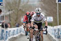 World Champion Julian Alaphilippe (FRA/Deceuninck - QuickStep) up the Oude Kwaremont<br /> <br /> 105th Ronde van Vlaanderen 2021 (MEN1.UWT)<br /> <br /> 1 day race from Antwerp to Oudenaarde (BEL/264km) <br /> <br /> ©kramon