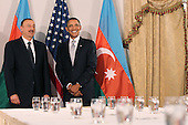 United States President Barack Obama (R) poses with President Ilham Aliyev of Azerbaijan at a bilateral meeting, Friday, September 24, 2010 in New York City. Obama has been in New York since Wednesday attending the annual General Assembly at the United Nations, where yesterday he stressed the need for a resolution between Israel and Palestine, and a renewed international effort to keep Iran from attaining nuclear weapons. .Credit: Spencer Platt - Pool via CNP