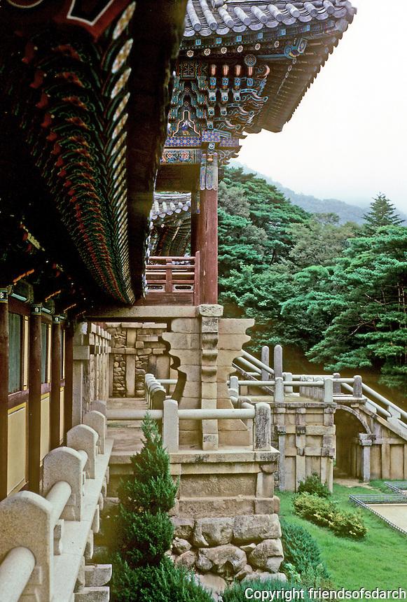 So. Korea: Kyong-Ju--Bulgug-sa Temple. Panoramic view. Photo '81.