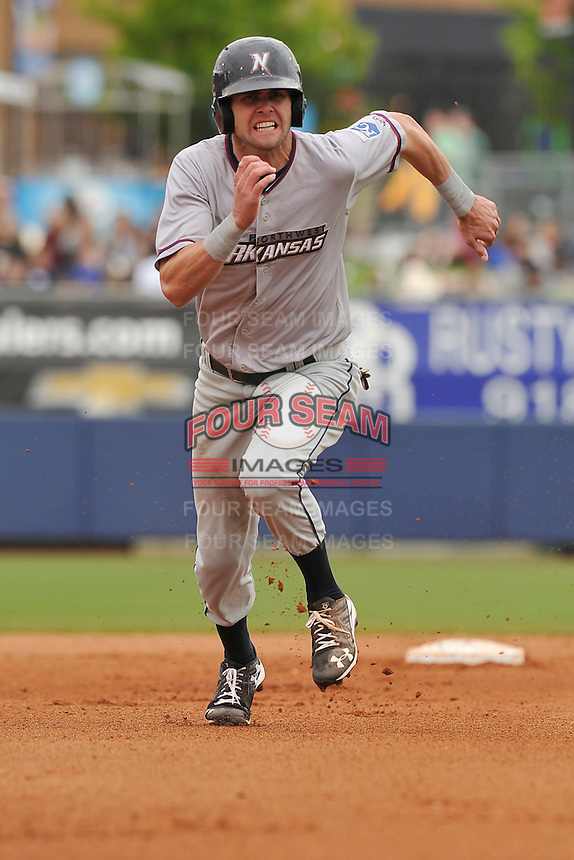 Northwest Arkansas Naturals Bubba Starling (6) runs toward third base during the game against the Tulsa Drillers at Oneok Field on May 2, 2016 in Tulsa, Oklahoma.  Northwest Arkansas won 9-6.  (Dennis Hubbard/Four Seam Images)
