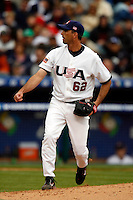 Scot Shields of the USA during the World Baseball Championships at Angel Stadium in Anaheim,California on March 12, 2006. Photo by Larry Goren/Four Seam Images