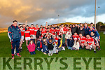 Daingean Uí Chúis team celebrating their victory over An Ghaeltacht with their young supporters during the West Kerry Championship Final at Pairc an Aghasaigh, Dingle, on Sunday afternoon.
