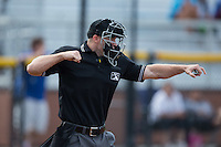 Home plate umpire Mark Stewart calls a batter out on strikes during the Appalachian League game between the Bluefield Blue Jays and the Burlington Royals at Burlington Athletic Stadium on June 28, 2016 in Burlington, North Carolina.  The Royals defeated the Blue Jays 4-0.  (Brian Westerholt/Four Seam Images)