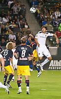 CARSON, CA - November 3, 2011: LA Galaxy defender Omar Gonzalez (4) during the match between LA Galaxy and NY Red Bulls at the Home Depot Center in Carson, California. Final score LA Galaxy 2, NY Red Bulls 1.