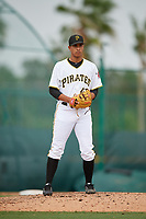 Pittsburgh Pirates pitcher Roger Santana (43) gets ready to deliver a pitch during an Instructional League game against the Tampa Bay Rays on October 3, 2017 at Pirate City in Bradenton, Florida.  (Mike Janes/Four Seam Images)