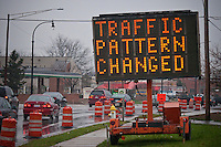Flashing roadside signs mark changes to South State Street as construction near completion  at the intersection of South State Street and Huber Village Boulevard. Upgrades to the intersection are part of a change to the I-270 interchange to Westerville and Westerville Road where traffic has increased since the original  roadway was built more than 30 years ago.  New and wider turn lanes, new sidewalks, underground utilities, modern traffic signals, and new lighting are the main fixtures of the new intersection.