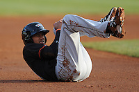 Delmarva Shorebirds Manny Machado #21 goes down with a knee injury in the first inning during  a game against  the  Asheville Tourists at McCormick Field in Asheville,  North Carolina;  May 5, 2011. The Tourists Won the game 10-2.  Photo By Tony Farlow/Four Seam Images