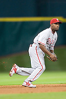 Philadelphia Phillies shortstop Jimmy Rollins #11 on defense during the Major League Baseball game against the Houston Astros at Minute Maid Park in Houston, Texas on September 12, 2011. Houston defeated Philadelphia 5-1.  (Andrew Woolley/Four Seam Images)