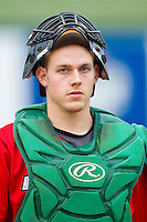Fort Wayne TinCaps catcher Dane Phillips (9) walks from the bullpen prior to the game against the Lansing Lugnuts at Cooley Law School Stadium on June 5, 2013 in Lansing, Michigan.  The TinCaps defeated the Lugnuts 8-5.  (Brian Westerholt/Four Seam Images)