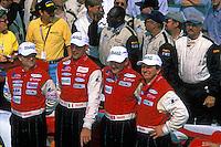 The winners in Victory Lane. (L to R): Mauro Baldi, Max Papis, Fredy Lienhard and Didier Theys. #27 Doran Dallara SP1-Judd..2002 Rolex 24 at Daytona, Daytona International Speedway, Daytona Beach, Florida USA Feb. 2002.(Sports Car Racing)