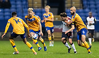 Bolton Wanderers' Shaun Miller is held back by Mansfield Town's Farrend Rawson (right) <br /> <br /> Photographer Andrew Kearns/CameraSport<br /> <br /> The EFL Sky Bet League Two - Bolton Wanderers v Mansfield Town - Tuesday 3rd November 2020 - University of Bolton Stadium - Bolton<br /> <br /> World Copyright © 2020 CameraSport. All rights reserved. 43 Linden Ave. Countesthorpe. Leicester. England. LE8 5PG - Tel: +44 (0) 116 277 4147 - admin@camerasport.com - www.camerasport.com